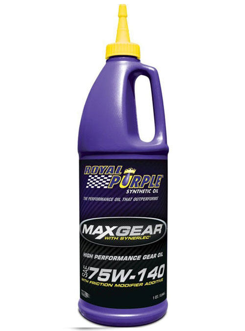 Bottiglia di olio per cambi e differenziali Royal Purple Max Gear 75W-140 da 0,946 lt